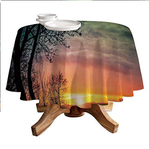 - Sunset Round Polyester Tablecloth,Horizon Sky with Unusual Colored Storm Clouds Up in Air and Tree Silhouette Image,Dining Room Kitchen Round Table Cover,55