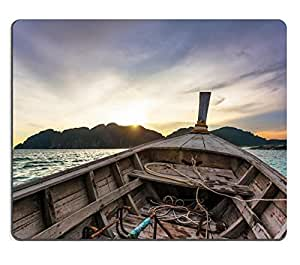 Mouse Pad Natural Rubber Mousepad IMAGE ID: 15057761 View from a moving boat in sunset time