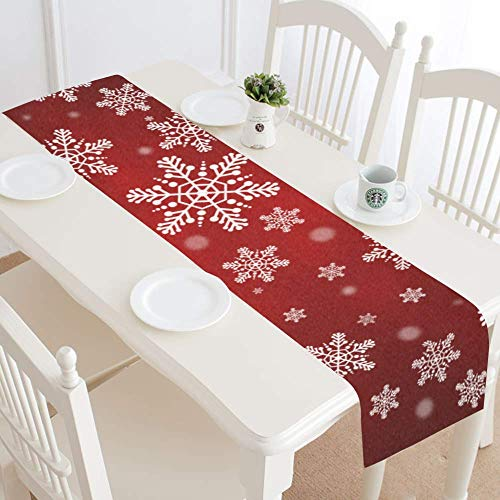 Personalized Placemats Christmas (InterestPrint Christmas Snowflake Table Runner Home Decor 14 X 72 Inch, Snowflake Red Table Cloth Runner for Wedding Party Banquet Decoration)