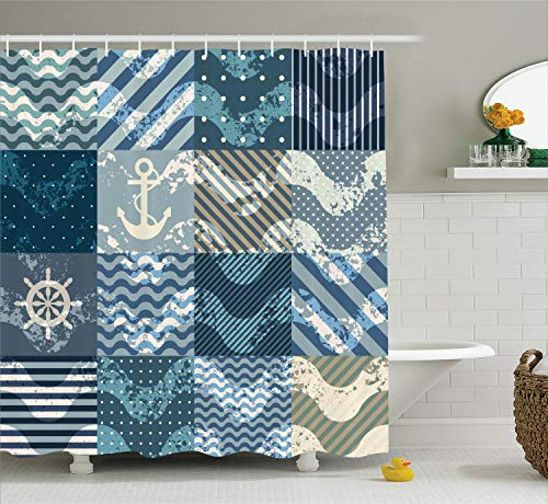 - Ambesonne Nautical Decor Shower Curtain Set, Marine Theme Wave Patterns in Patchwork Style Boxes Squares Navy Striped Anchor Print, Bathroom Accessories, 69W X 70L Inches, Blue Beige