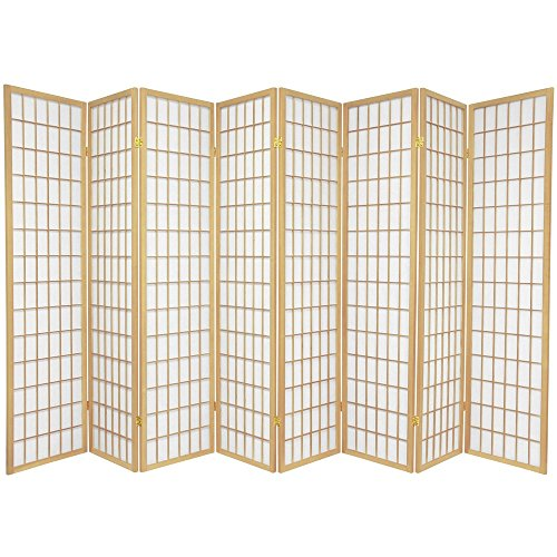 (Oriental Furniture 6 ft. Tall Window Pane Shoji Screen - Natural - 8 Panels)