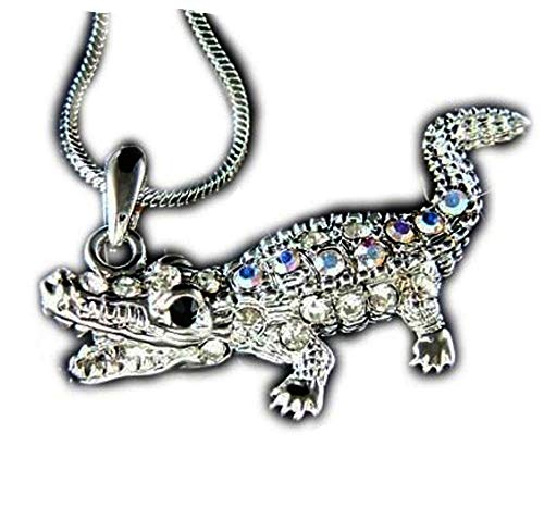 DianaL Boutique Crystal Gator Alligator Crocodile Charm Pendant Necklace 21