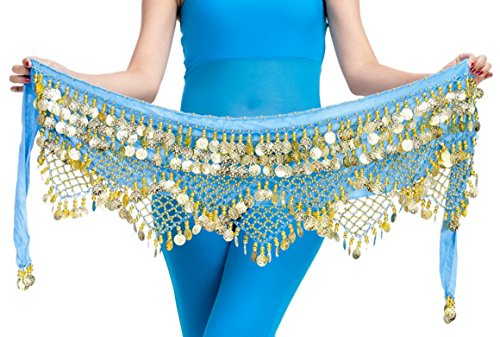 Belly Dance Scarf for Women Lady Vogue Style Velvet Belly Scarf Clothes Waist Chain Blue ()