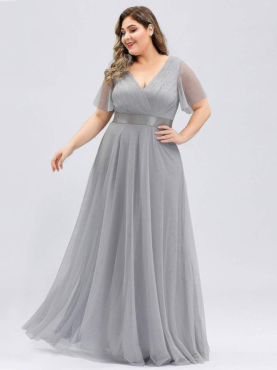 Ever-Pretty Womens Elegant Double V Neck with Short Flutter Sleeve A Line Empire Waist Long Tulle Plus Size Evening Bridesmaid Dresses 07962PL