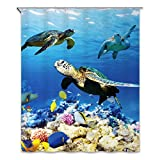 Chunyi Digital Printed Polyester Waterproof Bathroom Shower Curtains 72x72' (72x72inch, Sea turtle)