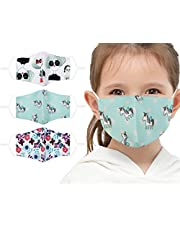 3PCS Kids Children Cloth Face Mask 2 Layer Printed Mask with Adjustable Elastic Ear Loops,Reusable & Washable