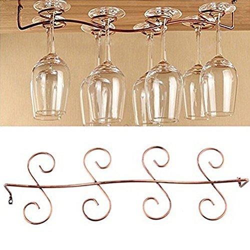 Buytra Under Cabinet Wine Glass Rack Stemware Holder for Home Bar, Holds up to 8 Glasses, Copper Color