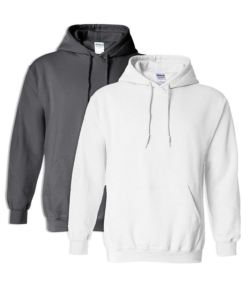 Gildan G18500 Heavy Blend Adult Unisex Hooded Sweatshirt XL 1 Charcoal 1 White