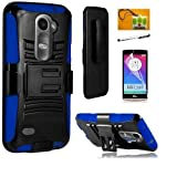 lg 1 ii - LG Power L22c (Tracfone / Net10) / LG Risio (Cricket) / LG Tribute 2 LS665 (BoostMobil)LF 4 in 1 Bundle, Hybrid Armor Stand Case with Holster and Locking Belt Clip, Lf Stylus Pen, Screen Protector & Droid Wiper Accessory (Holster Blue)
