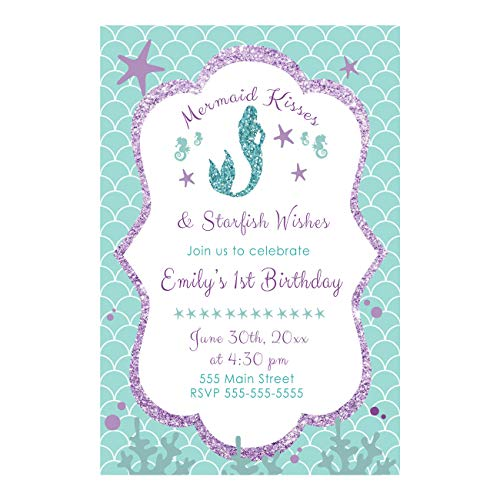 30 invitations mermaid girl birthday party personalized purple teal photo paper -
