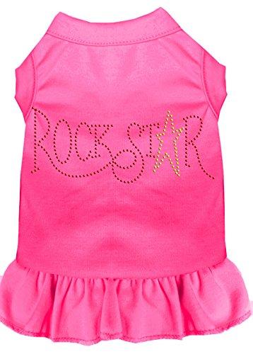 Mirage Pet Products 57-21 SMBPK Pink Rhinestone Rock Star Dress Bright, Small