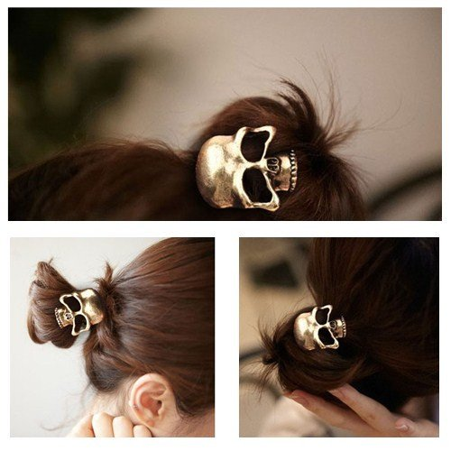 Generic Women Girl Gothic Punk Metal Human Skull Hair Ponytail Cuff Band Wrap Holder Tie(Bronze) (Cool Hair Accessories)