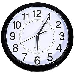 Bekith 12 Inch Modern Wall Clock Silent & Non-Ticking Quartz Clock for Living Room Home Office School Plastic Frame Glass Cover, White