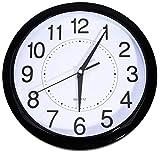 Bekith 11.5 -Inch Clock Non Ticking Quartz Wall Clock Big Arabic Numerals (Black)