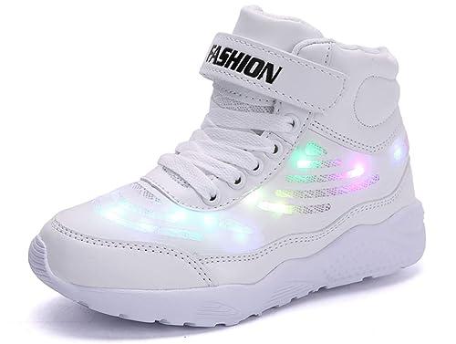 dbb2c8fa43d2c GJRRX Baskets Filles Chaussures Garçons LED Chaussures USB Rechargeable  pour Enfant Enfant Chaussures LED Basket LED