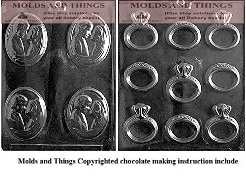Engagement/Wedding Ring Wedding Chocolate Candy Mold and Bride and groom chocolate candy mold with © molding Instructions - Set of 2