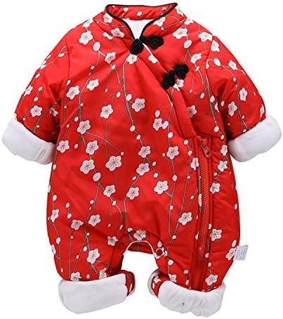 Herbst Und Winter Chinesischer Stil Strampler Plus Samt Verdicken Babykleidung Onesies Schnee Anzug Rot