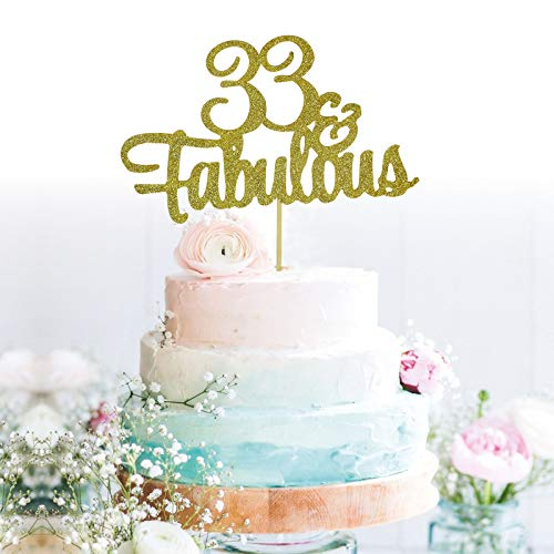 GrantParty Glitter Gold 33&Fabulous Anniversary Cake Topper We Still Do 33rd Vow Renewal Wedding Anniversary Cake Topper(33 Gold)