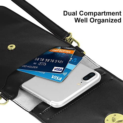 MoKo Compatible with Cell Phone Bag, Multi-Pocket Crossbody Pouch with Shoulder Strap Fits iPhone SE 2020/11 Pro/11/11 Pro Max/Xs Max/XR/Xs/X, Galaxy Note 10/Note 10 Plus/S10e/S10/S10 Plus - Black