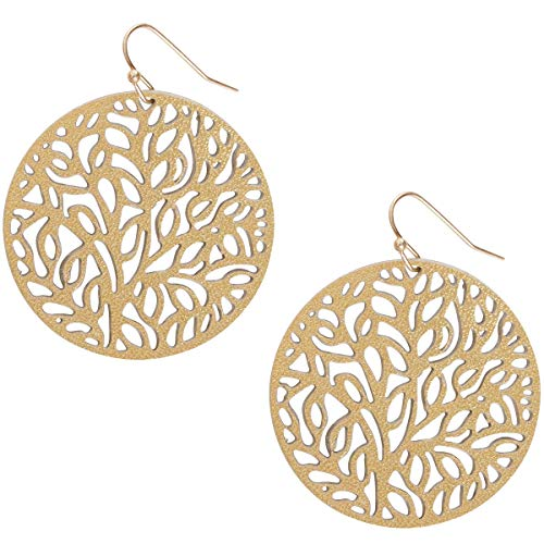 Humble Chic Vegan Leather Earrings for Women - Round Circle Dangle Statement Filigree Dangling Lightweight Boho Vintage-Style Drops, Gold-Tone Circle, Metallic Yellow, Tree Of Life