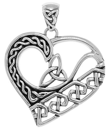 Jewelry Trends Sterling Silver Celtic Trinity Knot Heart Pendant