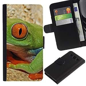 KingStore / Leather Etui en cuir / Samsung Galaxy S3 III I9300 / Rana Naturaleza Ojo profundo Ecuador