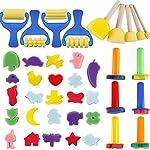 YGDZ Early Learning Mini Flower Sponge Painting Brushes Craft Brushes Set Kids Shipping FBA from YGDZ
