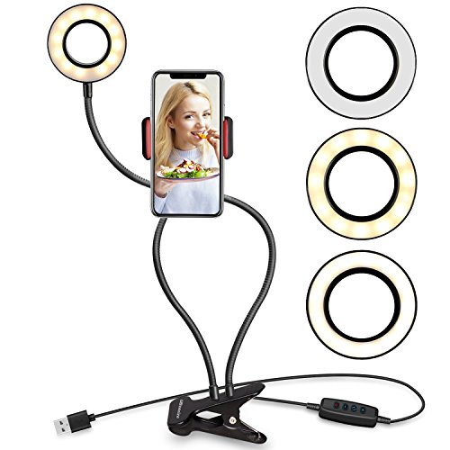 UBeesize Selfie Ring Light with Cell Phone Holder Stand for Live Stream/Makeup