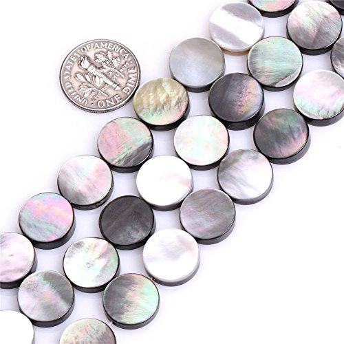 10mm Coin Black Mother of Pearl Shell Beads Loose Gemstone Beads for Jewelry Making Strand 15 Inch (38-40pcs)