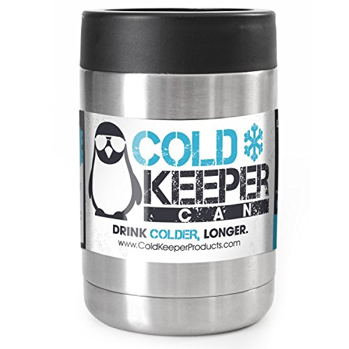 ColdKeeper Double Insulated Personal Beverage Cooler Can - Fits All Standard 12oz Cans and Bottles (12oz Compatible, Stainless Steel)