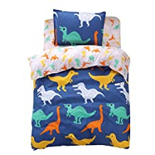 FindNew Animal Pattern Reactive Printing Bedding Duvet Cover Set, 3-Piece Suit,1 Duvet Cover,1 Fitted Sheet,1 Pillowcase, Great Gift Idea for Boys & Girls, Cool & Breathable(Twin Size, Dinosaurs)
