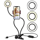 Selfie Ring Light Cell Phone Holder Stand Live Stream/Makeup, UBeesize LED Camera Lighting [3-Light Mode] [10-Level Brightness] Flexible Arms Compatible with iPhone 8 7 6 Plus X 6s SE Android
