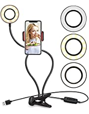 Selfie Ring Light with Cell Phone Holder Stand for Live Stream and Makeup, UBeesize LED Camera Light [3-Light Mode] [10-Level Brightness] with Flexible Long Arms for iPhone, Android Phone