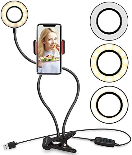 UBeesize Selfie Ring Gentle with Cell Telephone Holder Stand for Stay Stream/Make-up, LED Digital camera Lighting [3-Light Mode] [10-Level Brightness] with Versatile Arms Suitable with iPhone Eight 7 6 Plus X Android