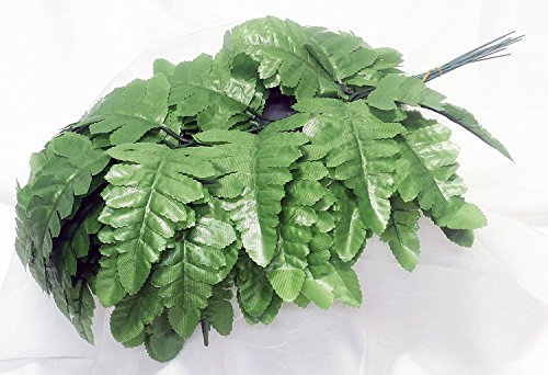 Leaf Leather Silk - 24 Artificial Silk Green Fern Leaf Picks for Floral Arranging, Crafting and Creating