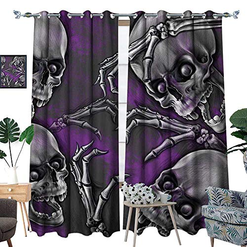 homehot Skull Thermal Insulating Blackout Curtain Scary Creepy Spooky Happy Smiling Skeleton with Boned Hand Artwork Print Patterned Drape for Glass Door Purple Grey and Black ()