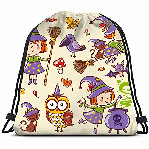 set characters icons halloween cartoon Drawstring Backpack Gym Sack Lightweight Bag Water Resistant Gym Backpack for Women&Men for Sports,Travelling,Hiking,Camping,Shopping Yoga ()