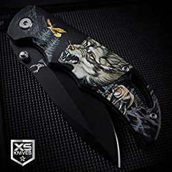Billion_Store Black Raging Wolf Spring Assisted Pocket Knife Wolves Wilderness 3D Art Graphics