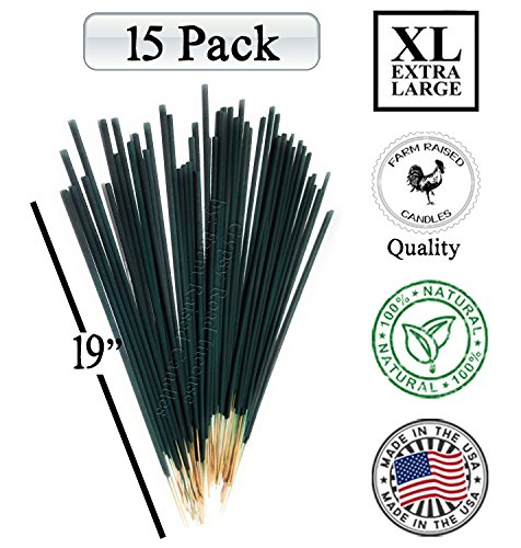 Farm Raised Candles Mintronella XL 19 Inches Long Jumbo 15 Pack (2.5 Hour Each Stick) 100% Natural Essential Oil Mosquito Gnats No-See-Um Repellent Outdoor incense Deck Yard Party Citronella.