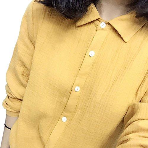 PurpuraErizo Estilo Casual Mujeres Camisa Fruncida Camisas Con Manga Larga Blusas Amarillo