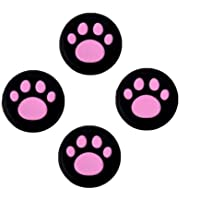 Analog Silicone Joystick Joy Stick Grips Cap Cover Thumbstick Thumb Stick Grips Cap Cover for PS4 PS3Xbox one Xbox 360PS2 Controller (4 x Hot Pink Cat Dog Paw)