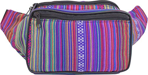 SoJourner Bags Fanny Pack - Tribal Boho Hippy Woven Eco Style (Rose)