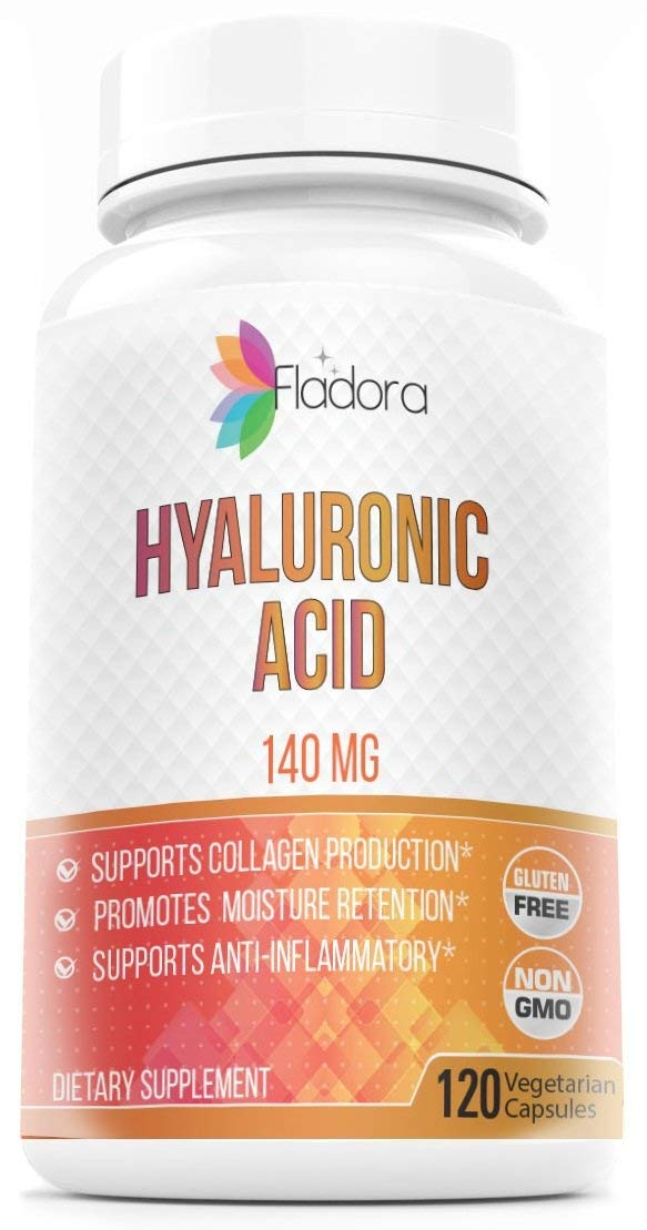 Hyaluronic Acid 140mg - Nutritional Supplement Promotes Healthy Youthful Skin and Joint Health - 120 Vegetarian Capsules by Fladora, Non-GMO, Gluten Free