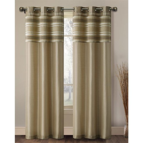 - VCNY Wakefield Lined Chenille and Faux Silk Curtain Panel Taupe 96 Inches