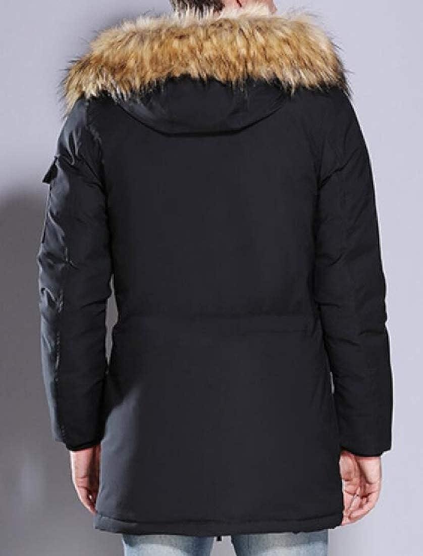 SOWTKSL Manteau d'hiver épais en Coton pour Homme avec Capuche et Poche en Fourrure Noir