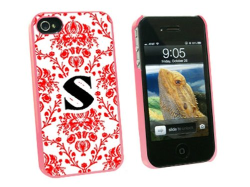 Graphics and More Letter S Initial Damask Elegant Red Black White Snap-On Hard Protective Case for Apple iPhone 4/4S - Non-Retail Packaging - Pink