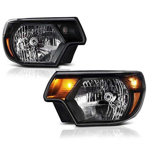 VIPMOTOZ Black Housing OE-Style Headlight Headlamp Assembly For 2012-2015 Toyota Tacoma Pickup Truck, Driver & Passenger Side