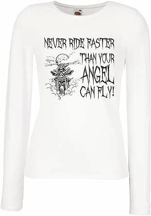 N4694M Mangas largas Camiseta de la Hembra Motorcycle Quotes Sayings for Bikers