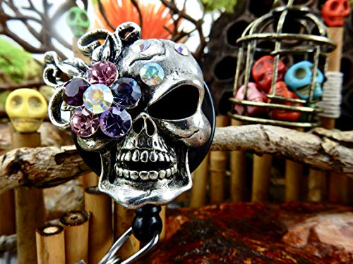 Skull Badge Holder Halloween ID Reel Sugar Skull Retractable Clip Goth Gothic Rhinestone Skeleton Freaky Creepy Badass Spooky Day of the Dead XRAY Gift for Manager Bling Crystal Pretty Nurse RN 141