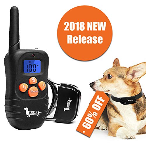YHPOYLP Dog Training Collar Rechargeable & Waterproof 330 yd Remote Dog Shock Collar with Beep, Vibra and Shock for Small Medium Large Dogs (1 Dog System)